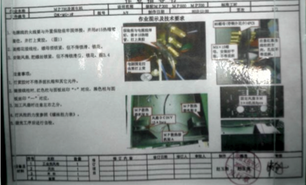 outdated Chinese work instructions for operators in factory