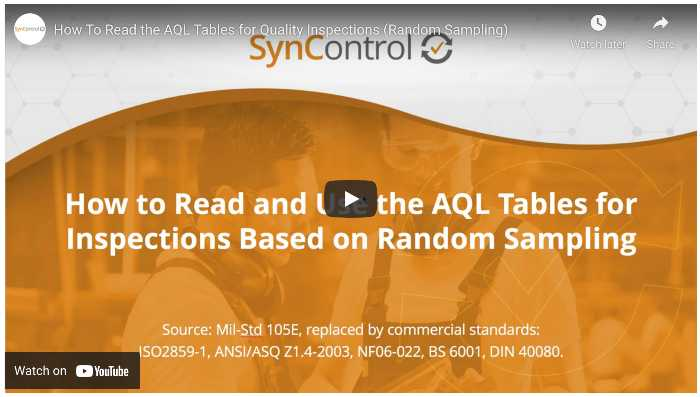 how to read and use the aql tables for quality inspections