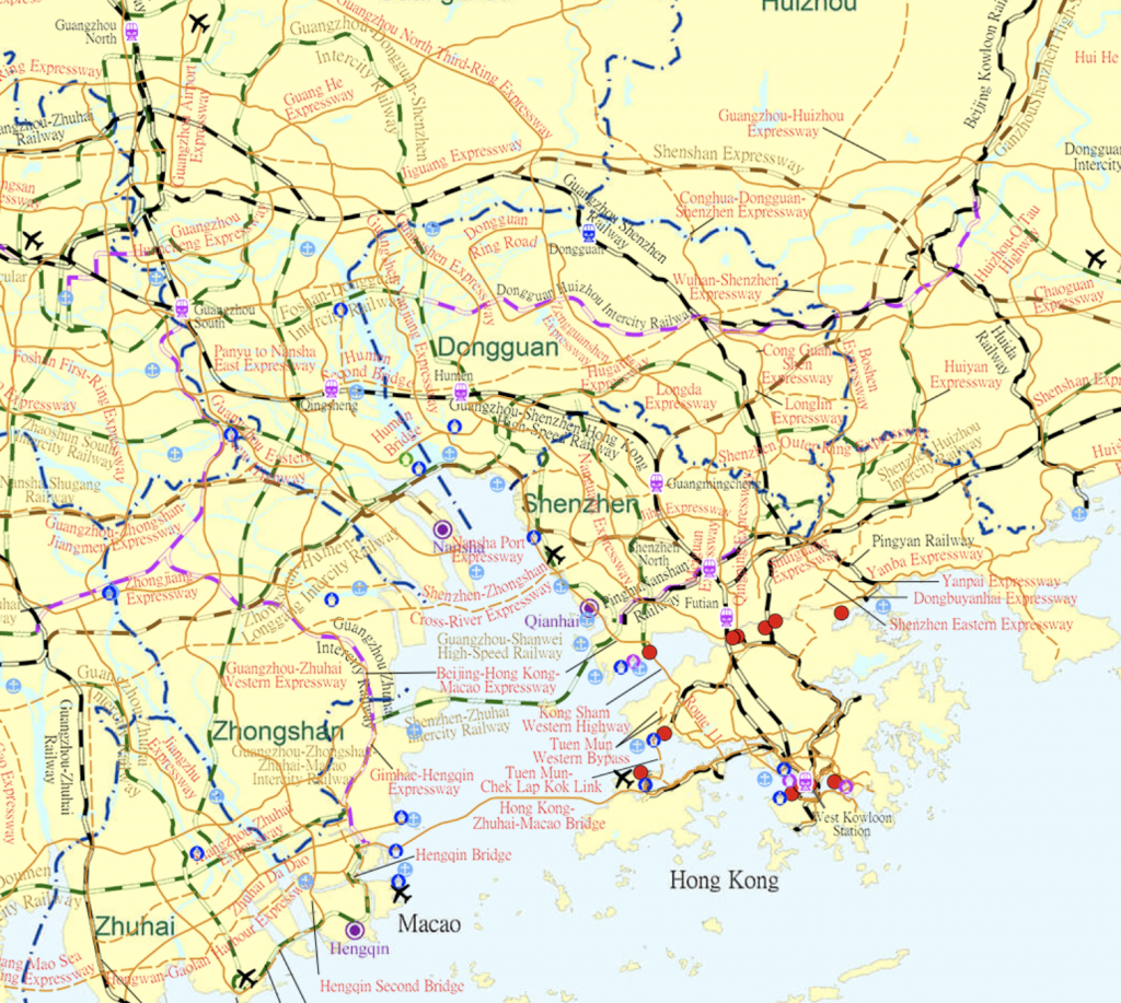 Infrastructure map of the Guangdong-Hong Kong-Macau Greater Bay Area